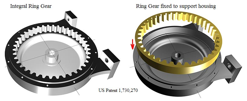 Actuator ring gear can be made as one part or it can be an assembly of two different parts. US Patent 1,730,270.