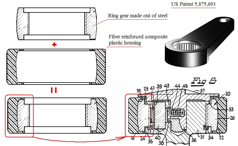 US Patent 5,875,693. Fiber reinforced composite material is molded over the steel ring gear insert