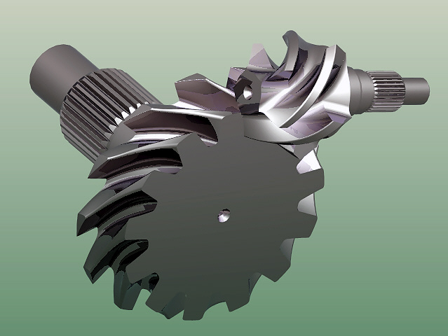 Bevel Gear Animation : Gear and pinion