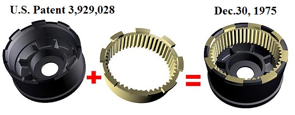 Engineering idea of a composite ring gear. US Patent 3,929,028.