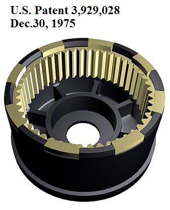 US Patent 3,929,028. Realistic presentation of composite ring gear wheel.