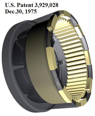 US Patent 3,929,028. Composite gear wheel in transparent rendering.