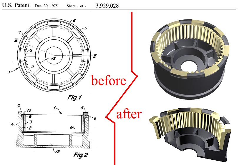 US Patent 3,929,028. Composite gear wheel in patent and in CAD model.