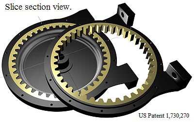 Assembly idea of a ring gears for a rotary compound planetary gear actuator. US Patent 1,730,270.