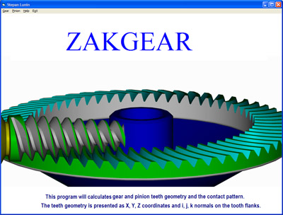 Optional starting screen of worm face gear manufacturing software.